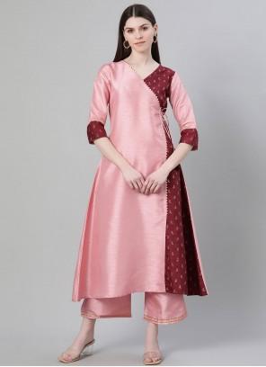 Fancy Poly Silk Party Wear Kurti in Pink