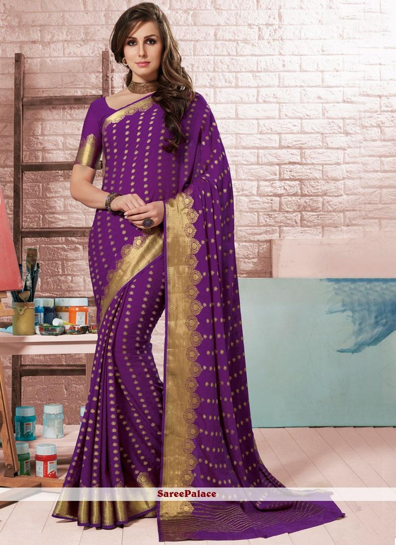 Fancy Purple Crepe Silk Traditional Designer Saree
