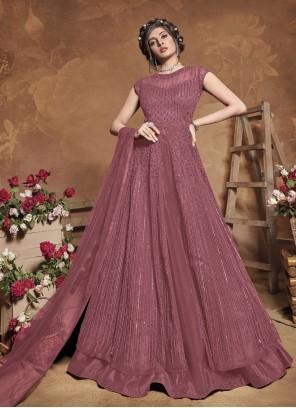 Fancy Purple Net Floor Length Anarkali Suit