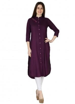 Fancy Purple Rayon Party Wear Kurti