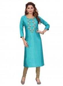 Fancy Rama Silk Party Wear Kurti