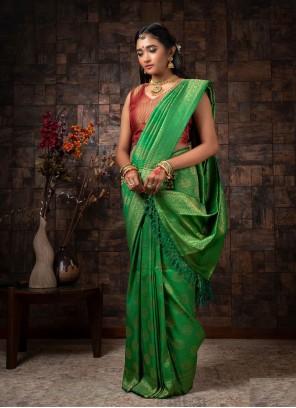 Green Fancy Raw Silk Designer Traditional Saree