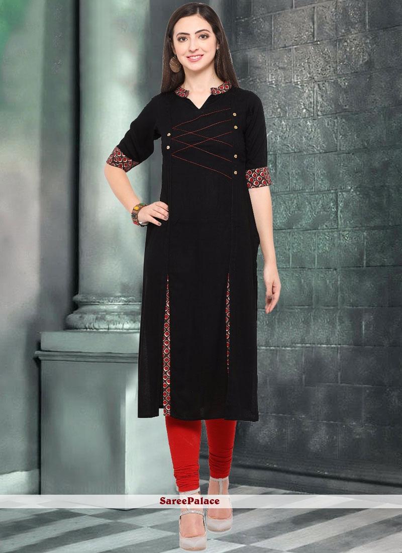 Fancy Rayon Casual Kurti in Black