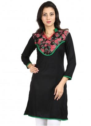 Fancy Rayon Black Designer Kurti