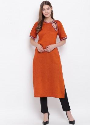 Fancy Rayon Orange Party Wear Kurti