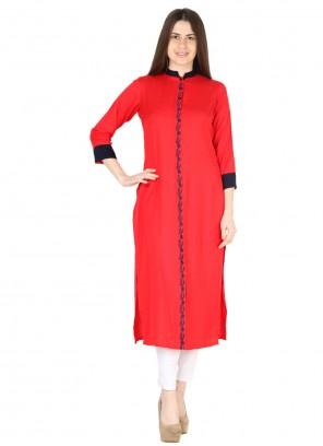 Red Fancy Rayon Party Wear Kurti