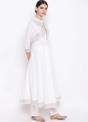 Off White Fancy Rayon Party Wear Kurti