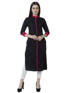 Fancy Rayon Party Wear Kurti in Black