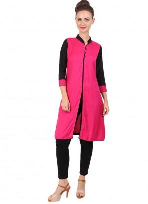 Fancy Rayon Party Wear Kurti in Rani