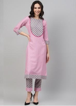 Fancy Rayon Pink Party Wear Kurti