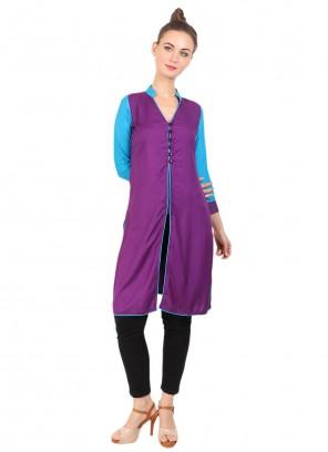 Fancy Rayon Purple Party Wear Kurti