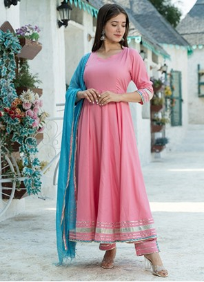 Fancy Rayon Readymade Suit in Pink