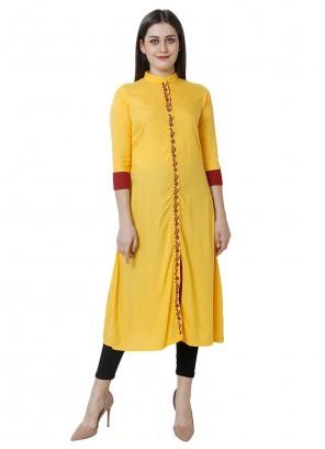 Fancy Rayon Yellow Party Wear Kurti