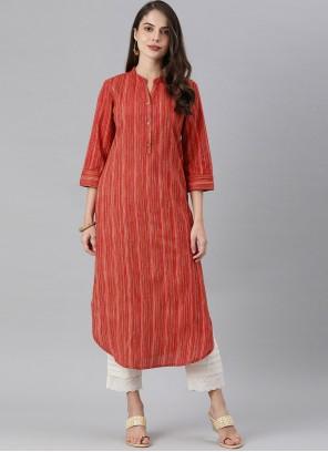 Fancy Red Rayon Party Wear Kurti