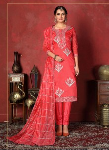 Fancy Rose Pink Fancy Fabric Churidar Designer Suit