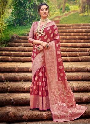 Fancy Salmon Cotton Silk Designer Traditional Saree