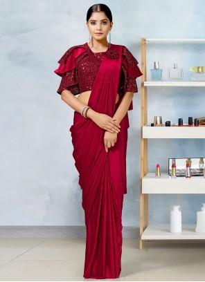 Red Fancy Work Sangeet Designer Saree