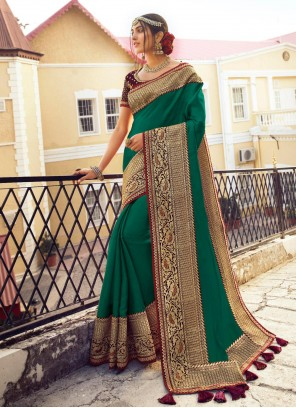 Fancy Satin Silk Green Traditional Saree