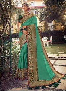 Fancy Sea Green Designer Traditional Saree