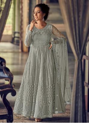 Fancy Sea Green Georgette Floor Length Anarkali Suit