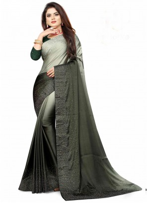 Grey And Green Fancy Shaded Saree