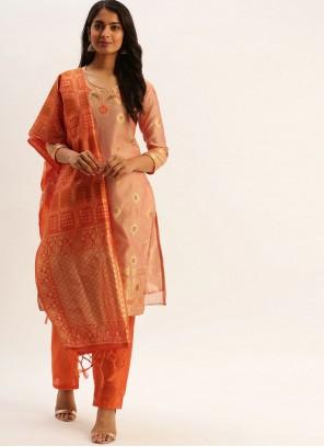Fancy Silk Peach Designer Pakistani Suit