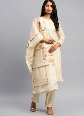 Fancy Silk Cream Designer Pakistani Suit