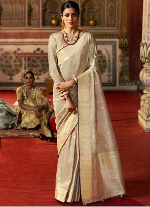 Beige Fancy Silk Designer Traditional Saree