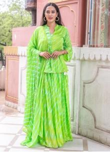 Fancy Silk Green Readymade Suit