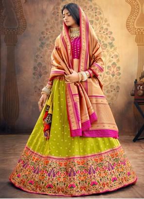 Green Fancy Silk Lehenga Choli