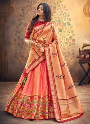 Fancy Silk Lehenga Choli in Peach