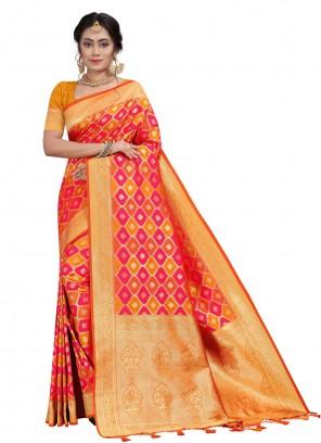 Fancy Silk Orange and Pink Traditional Designer Saree