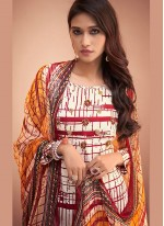 Fancy Silk Palazzo Salwar Suit in Maroon