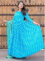 Fancy Silk Readymade Suit in Blue