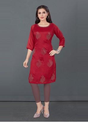 Fancy Silk Red Designer Kurti