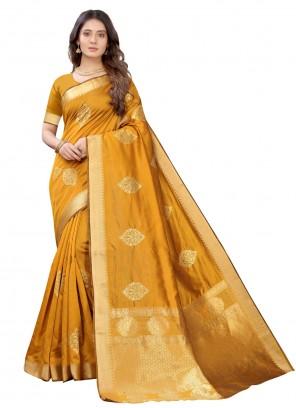 Fancy Silk Traditional Designer Saree in Yellow