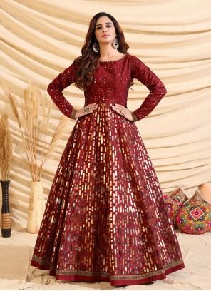 Fancy Tafeta Silk Designer Gown in Maroon