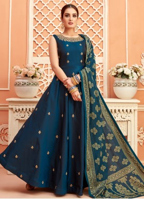 Fancy Tafeta Silk Floor Length Anarkali Suit in Teal