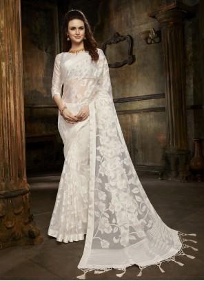 Off White Fancy Tissue Designer Saree