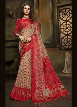 Beige Fancy Tissue Designer Saree