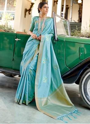 Fancy Traditional Blue Designer Saree