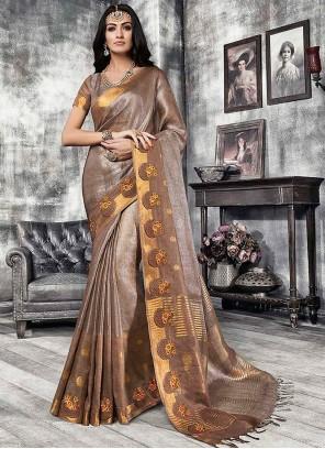 Brown Fancy Banarasi Silk Traditional Designer Saree
