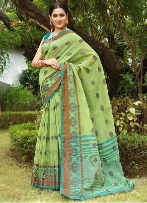Green Fancy Work Linen Traditional Saree