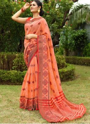 Peach Fancy Work Linen Traditional Saree