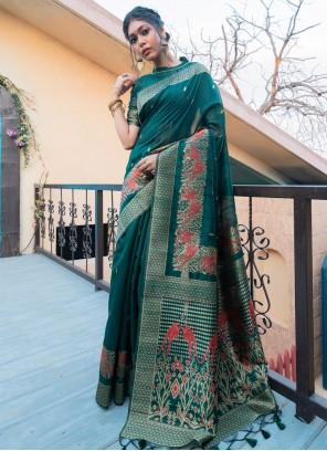 Fancy Tussar Silk Designer Traditional Saree in Green