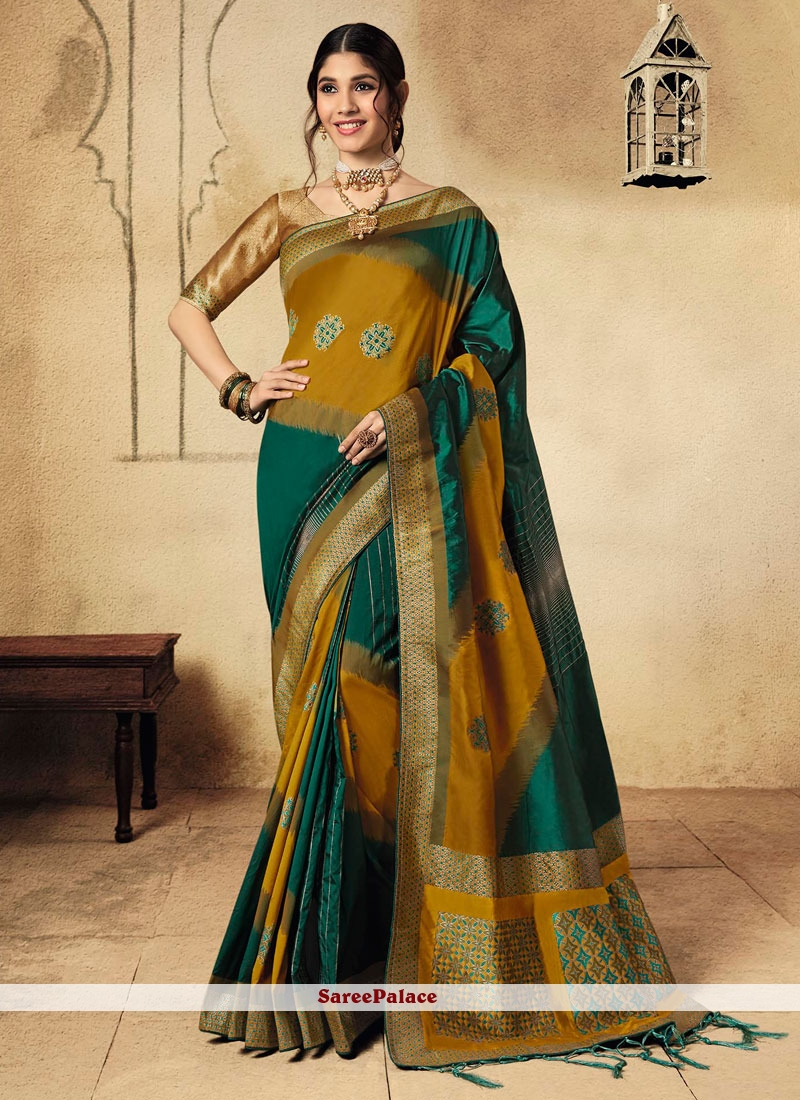 Green and Mustard Fancy Wedding Classic Saree