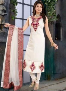 Fancy White Churidar Designer Suit