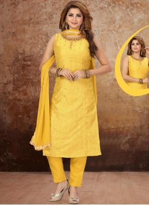 Fancy Yellow Art Silk Pant Style Suit