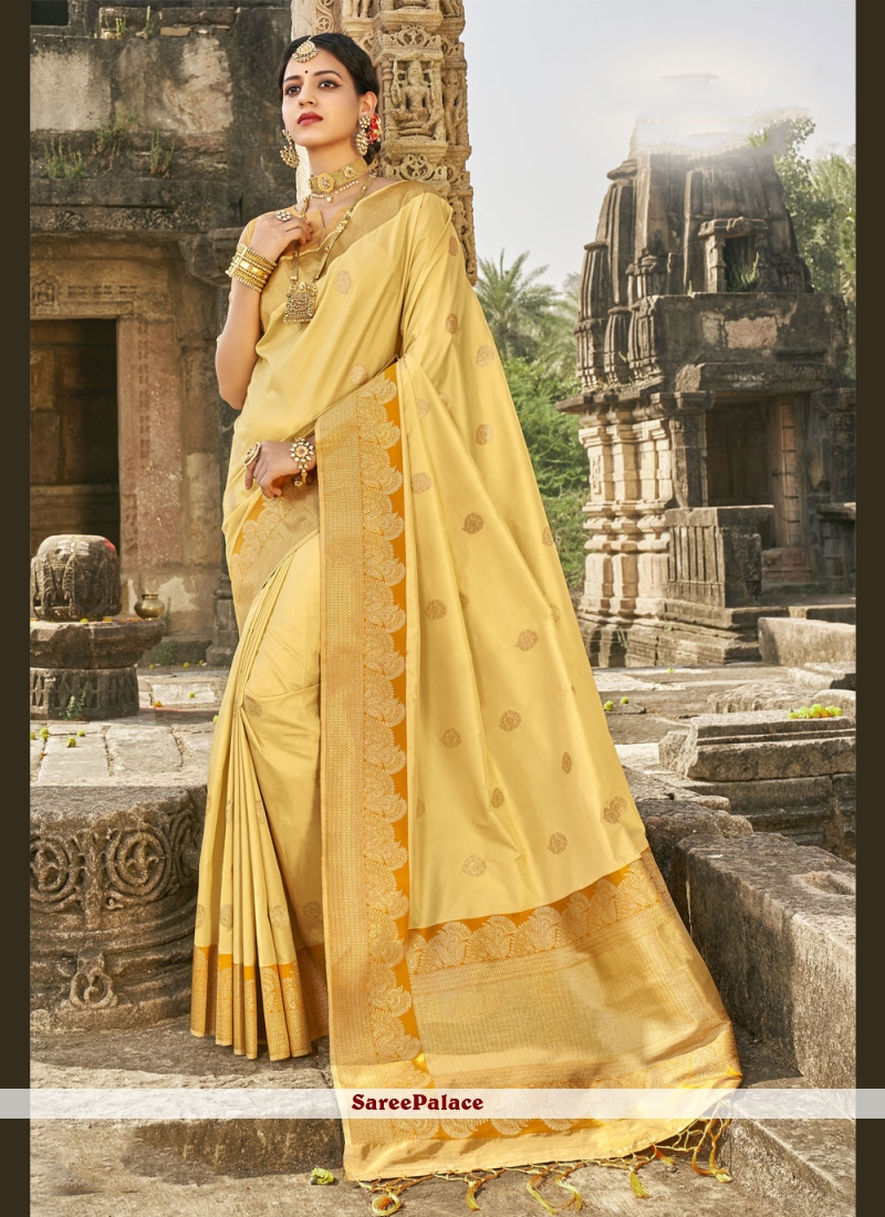 Fancy Yellow Banarasi Silk Designer Traditional Saree