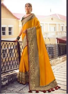 Fancy Yellow Satin Silk Traditional Saree